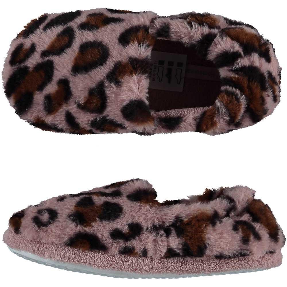 Roze panterprint/luipaardprint ballerina pantoffels/sloffen voor meisjes 33-34 -
