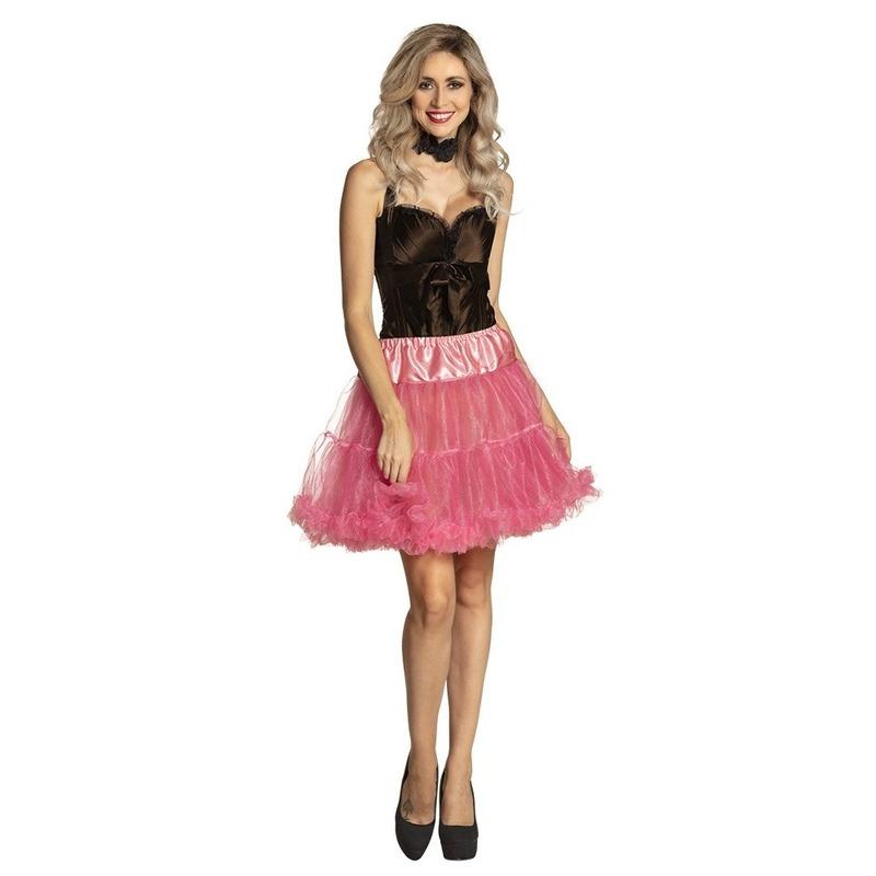 Roze petticoat rok voor dames 45 cm