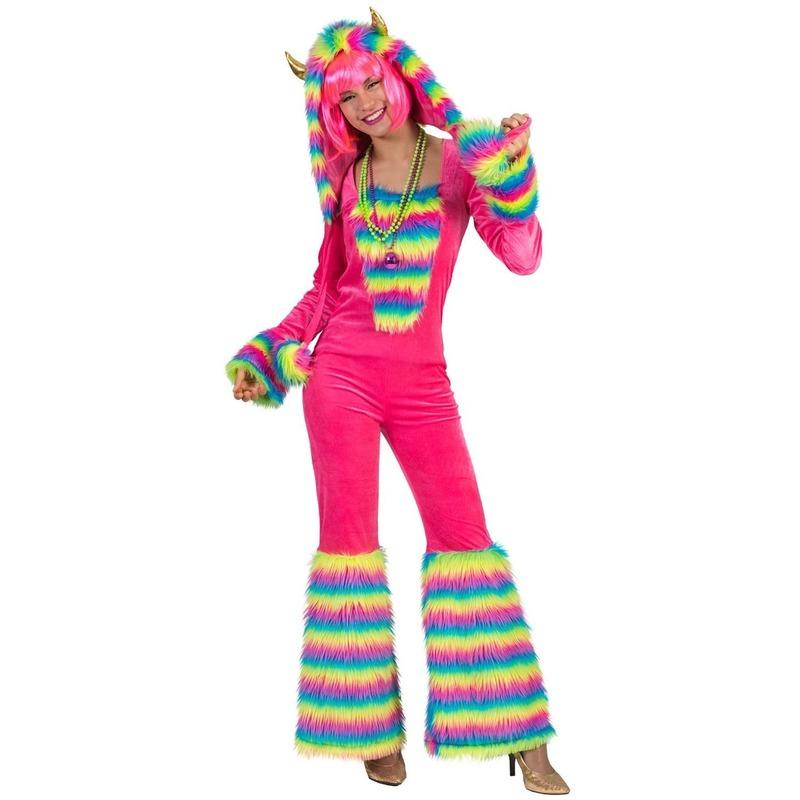 Roze regenboog monster verkleed pak voor dames