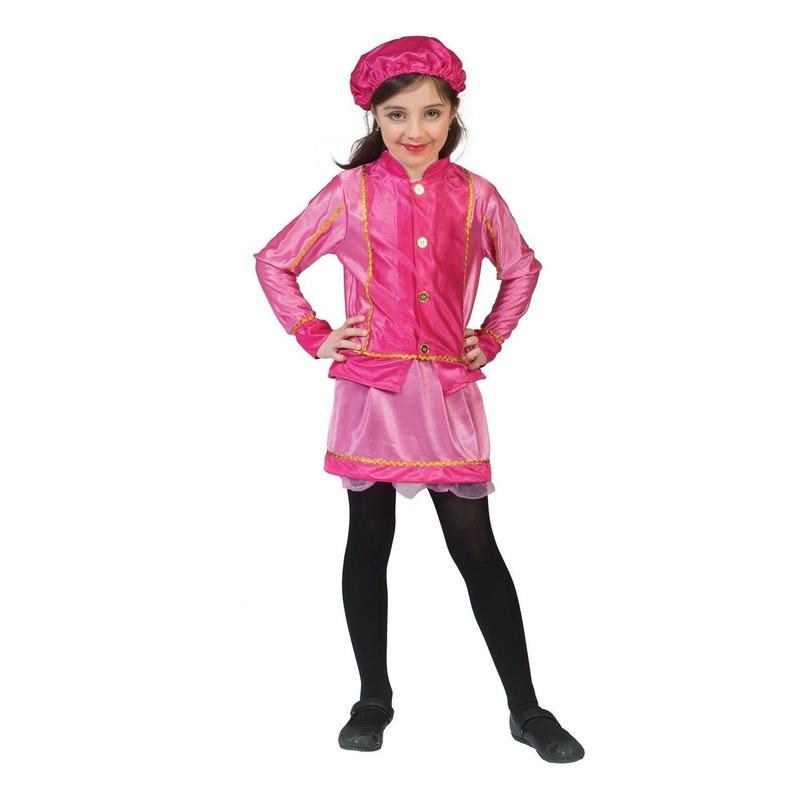 Roze roetveeg Piet kostuum geel met paars voor kinderen