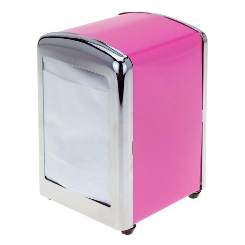 Roze servethouder/ servetten dispenser 14 cm