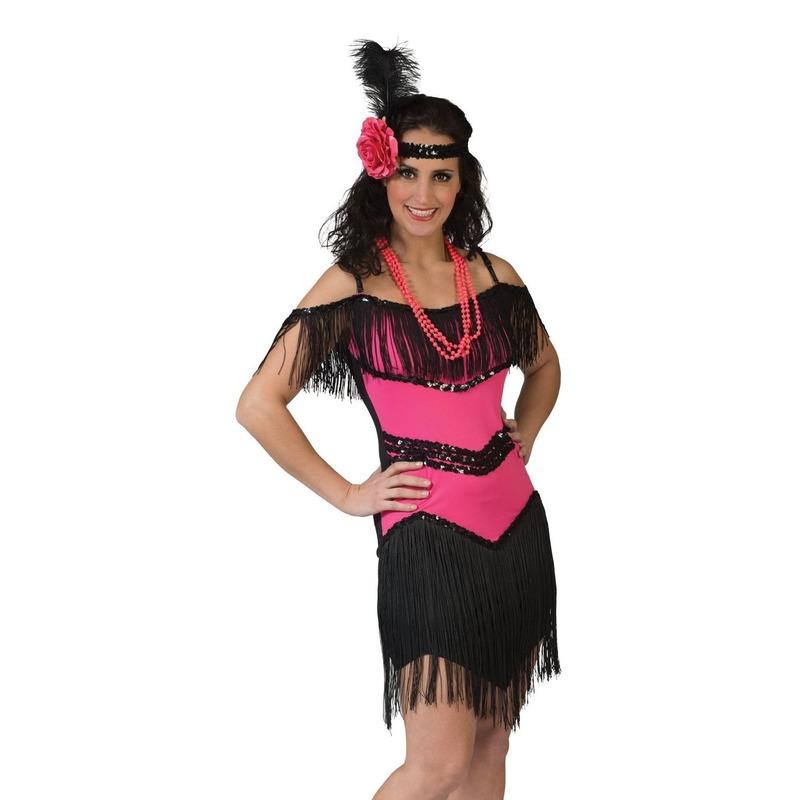 Roze/zwart charleston verkleed jurkje voor dames