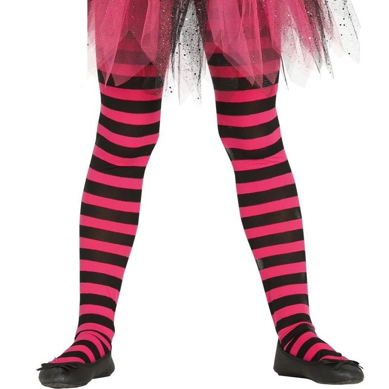 Roze/zwart gestreepte panty 15 denier voor meisjes