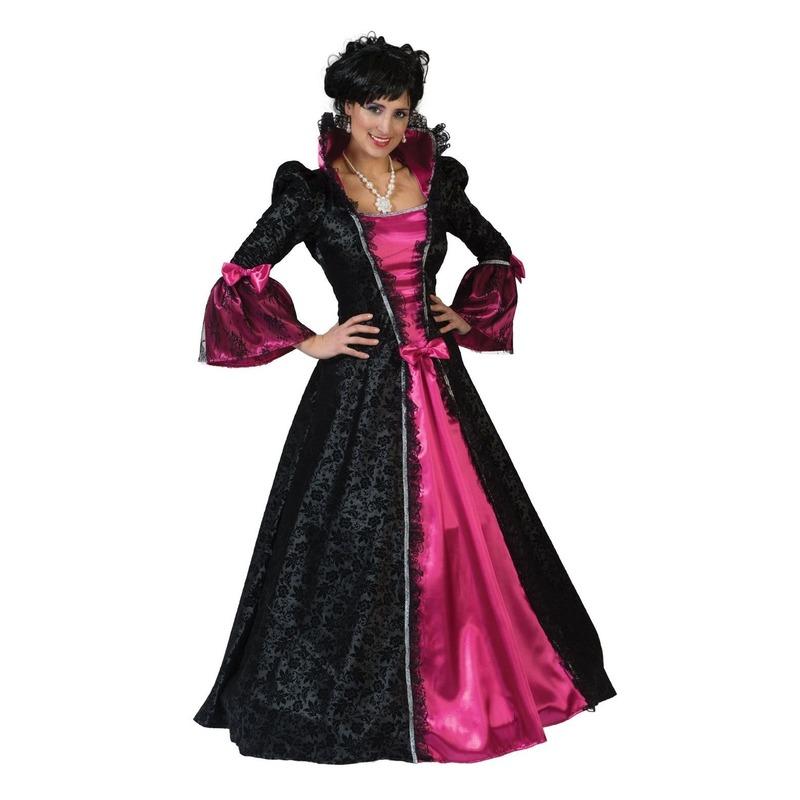 Roze/zwarte barok verkleed jurk voor dames