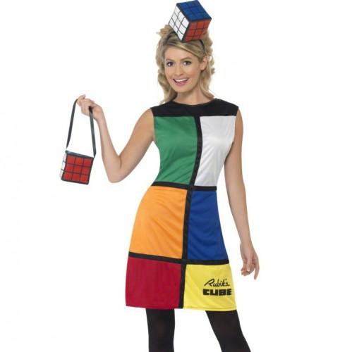 Rubiks kubus jurk met hoed en tas