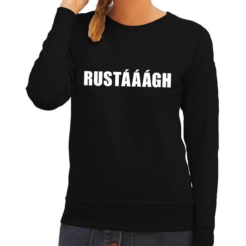 Rustaaagh tekst sweater - trui zwart voor dames