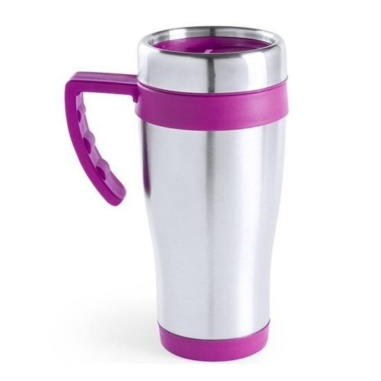 RVS thermosbeker/warm houd beker roze 500 ml