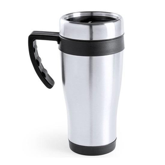 RVS thermosbeker/warm houd beker zwart 500 ml