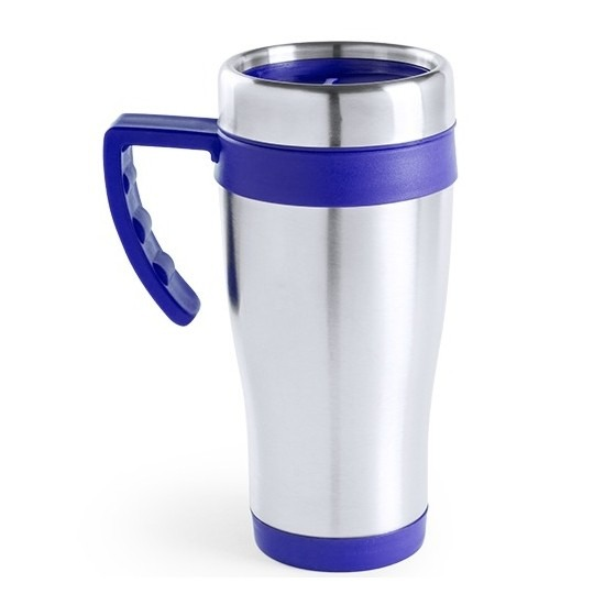 RVS thermosbeker/warm houd koffiebeker blauw 500 ml
