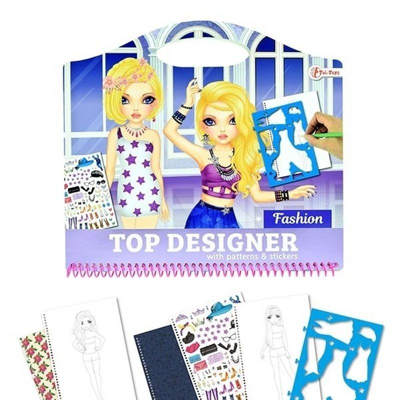 Schetsboek kleding ontwerpen met stickers en sjablonen