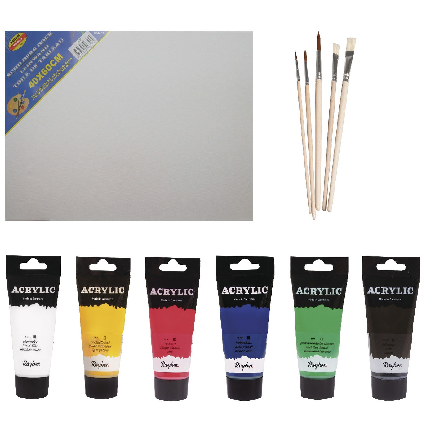 Schilders verf set van 6x tubes acrylverf/hobbyverf 75 ml + doek + 5x kwasten