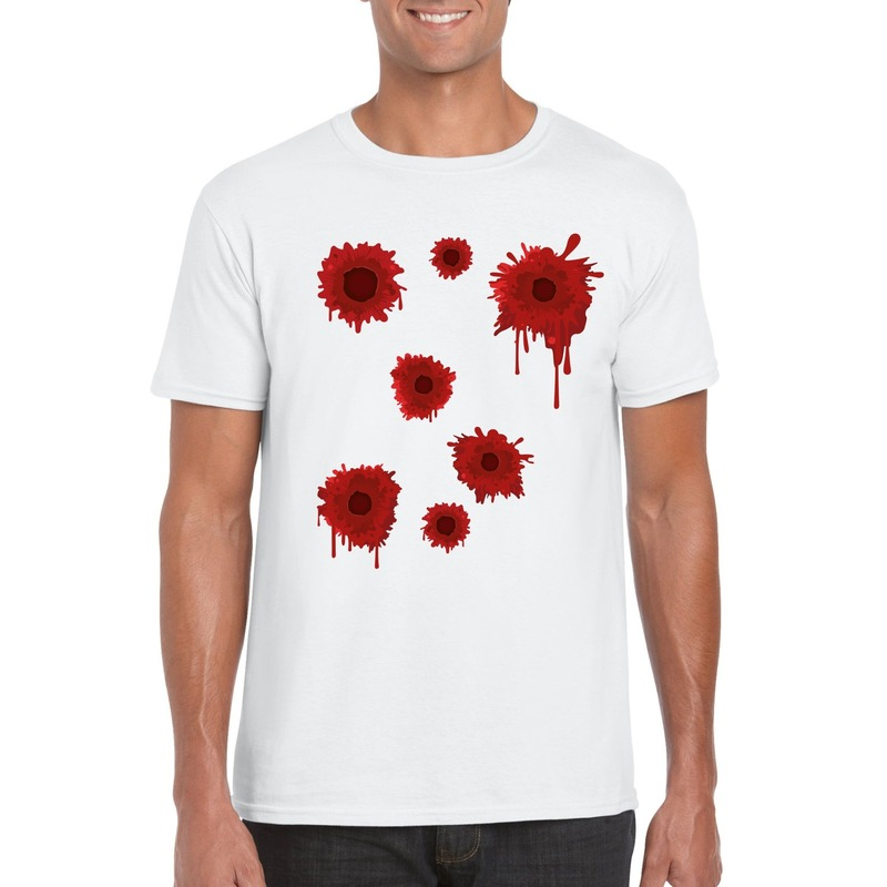 Schotwonden t-shirt wit heren