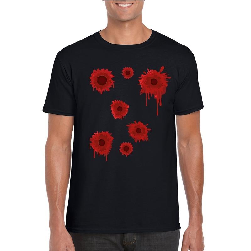 Schotwonden t-shirt zwart heren