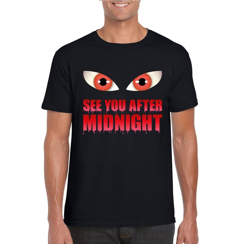 See you after midnight Halloween vampier t-shirt zwart heren