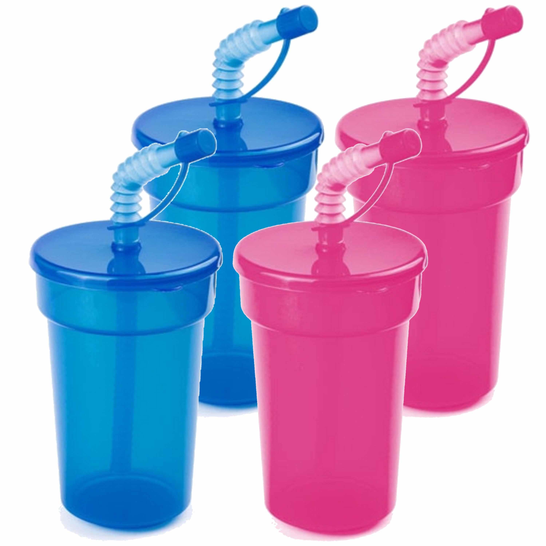 Set van 10x stuks afsluitbare kunststof drinkbekers 400 ml met rietje blauw/roze