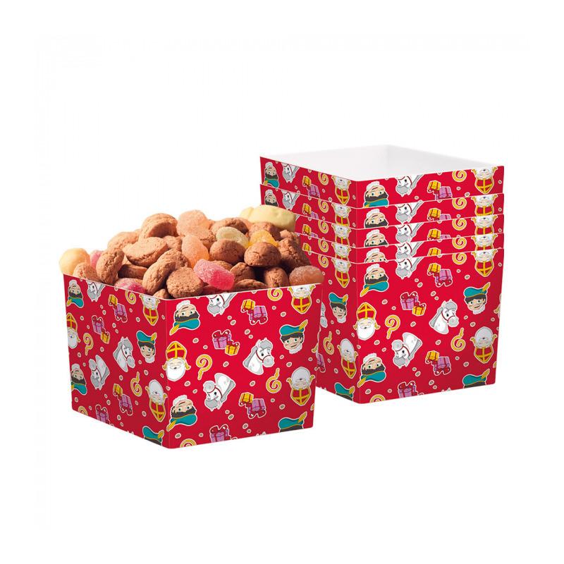 Merkloos Set van 12x papieren pepernoot bakjes / snoep bakjes Sint en Piet print - Feestdecoratievoorwerp