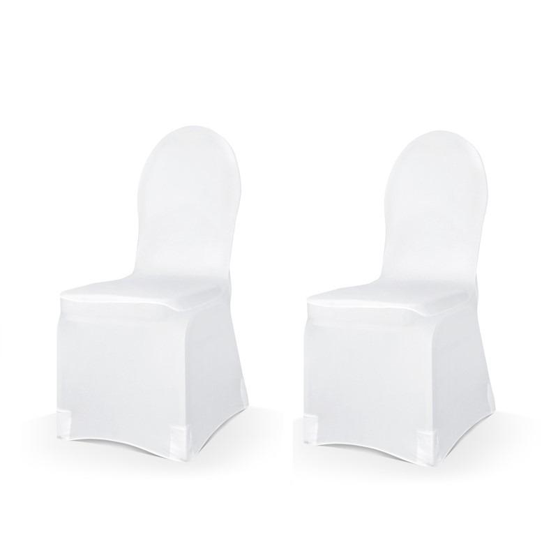 Set van 12x stuks universele witte elastische stoelhoezen 50 x 105 cm