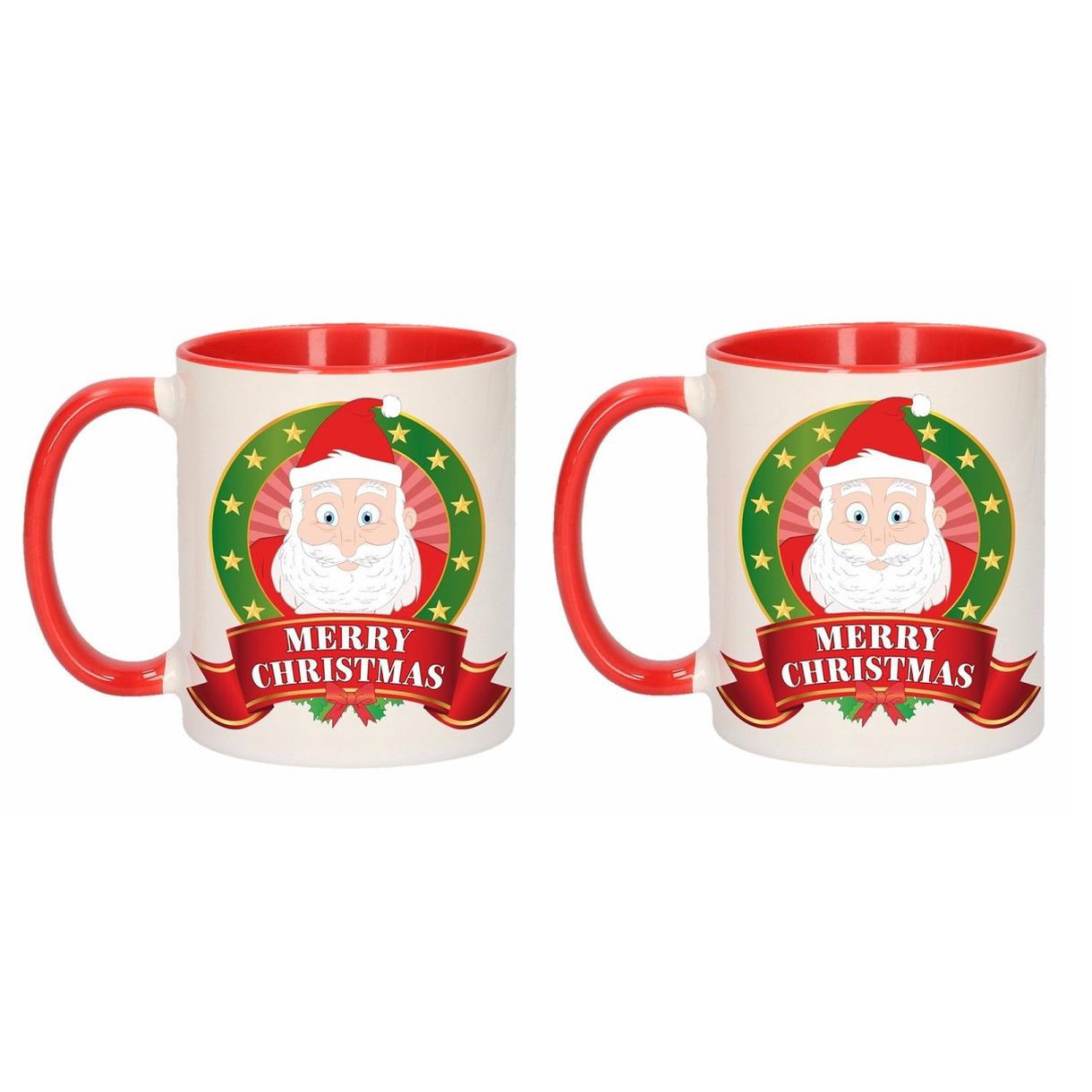Set van 2x stuks kerst mokken - bekers met Kerstman print 300 ml