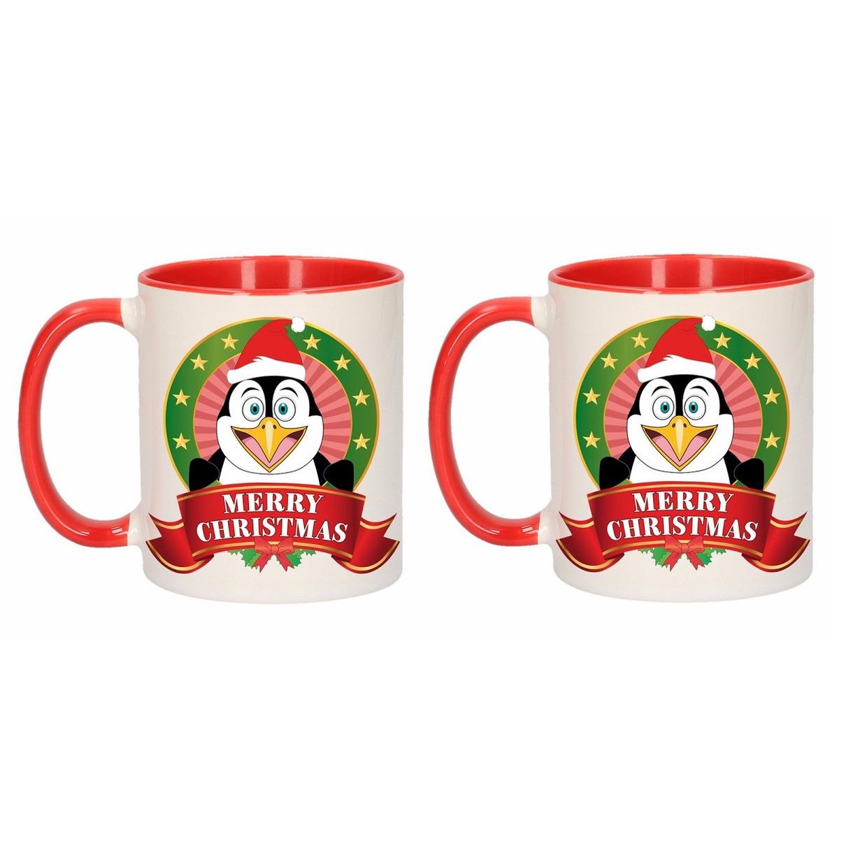 Set van 2x stuks kerst mokken - bekers met pinguin print 300 ml