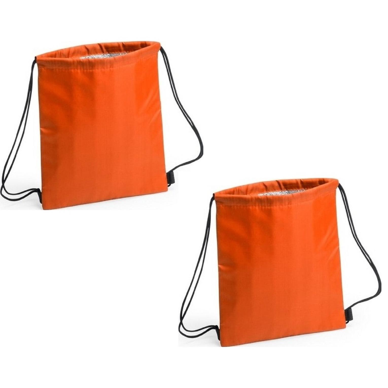 Merkloos Set van 2x stuks oranje koeltas rugzak 27 x 33 cm -
