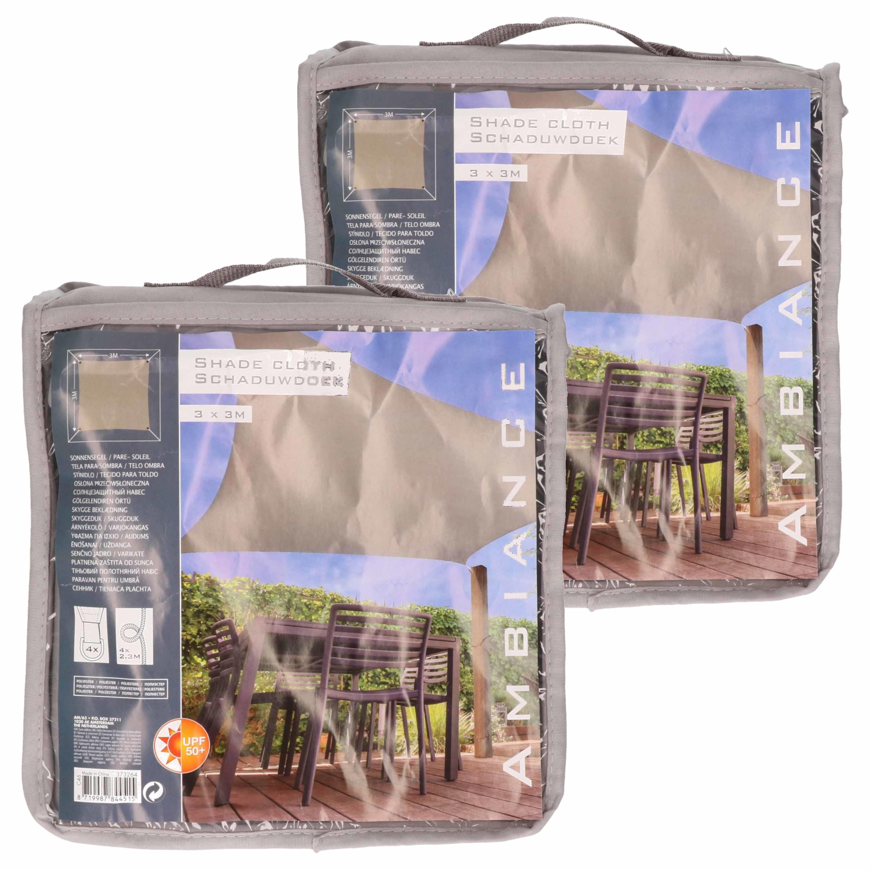 Set van 2x stuks schaduwdoeken-zonneschermen vierkant grijs 3 x 3 meter