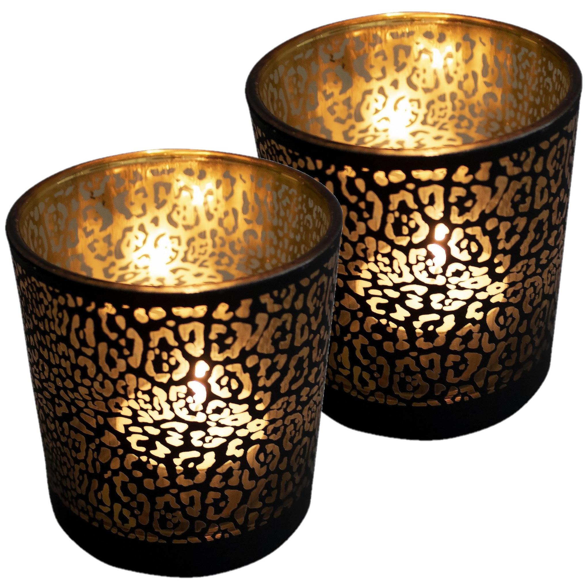 Set van 2x stuks theelichthouder-waxinelichthouder glas mat zwart 12,5 cm jaguar print
