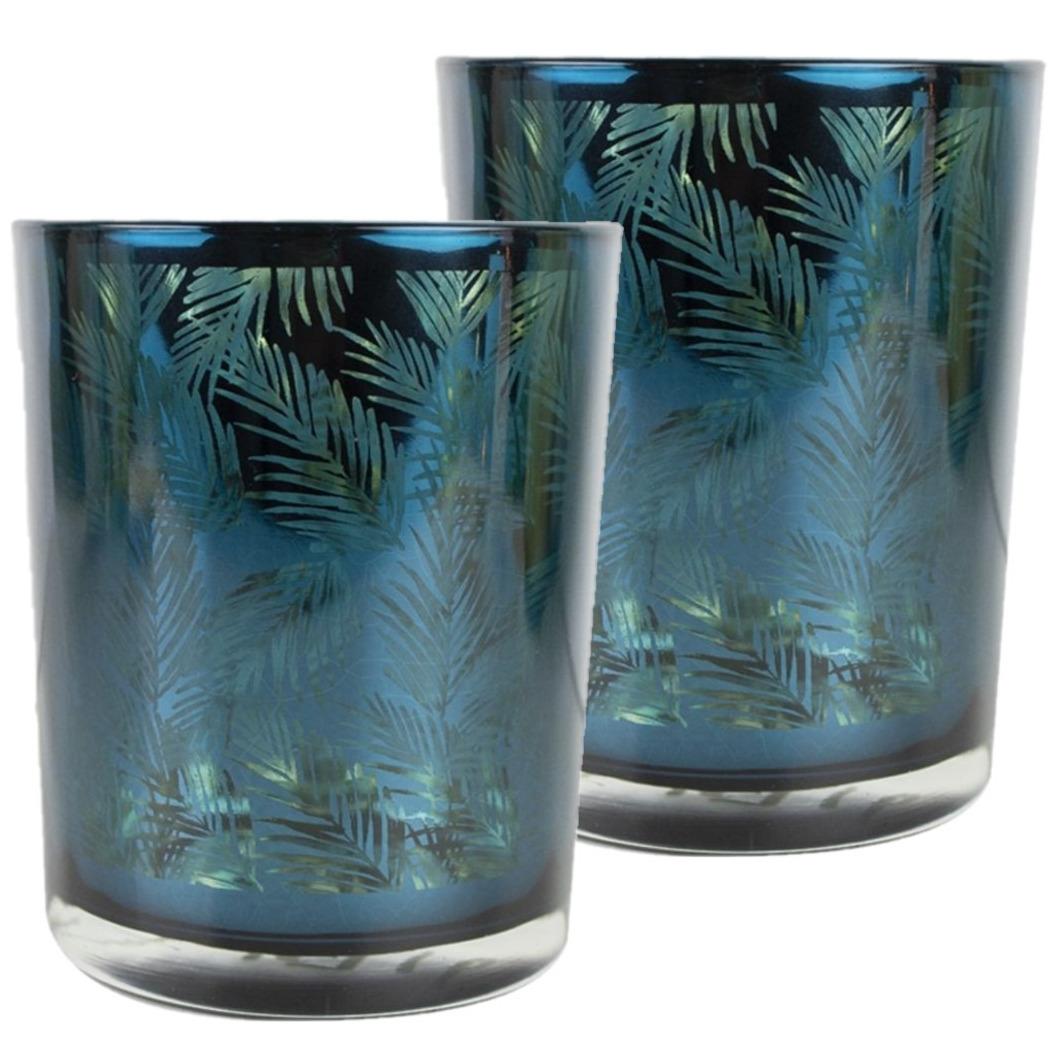 Set van 2x stuks theelichthouder-waxinelichthouder glas petrol blauw 12 cm palmblad print