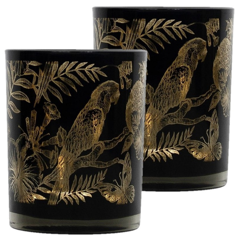 Set van 2x stuks theelichthouder-waxinelichthouder glas zwart 10 cm papegaai print