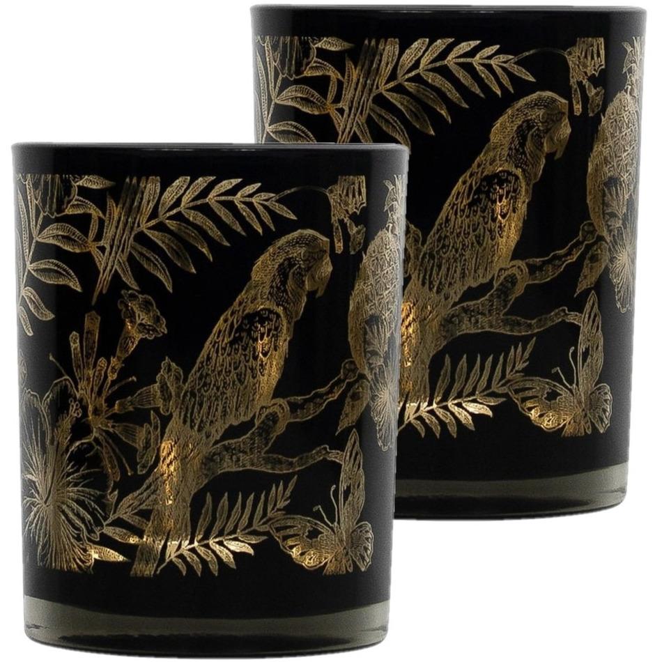 Set van 2x stuks theelichthouder-waxinelichthouder glas zwart 12 cm papegaai print