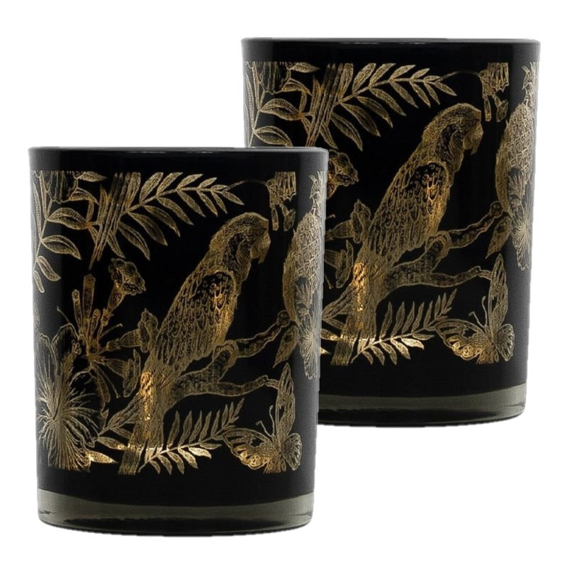 Set van 2x stuks theelichthouder-waxinelichthouder glas zwart 8 cm papegaai print