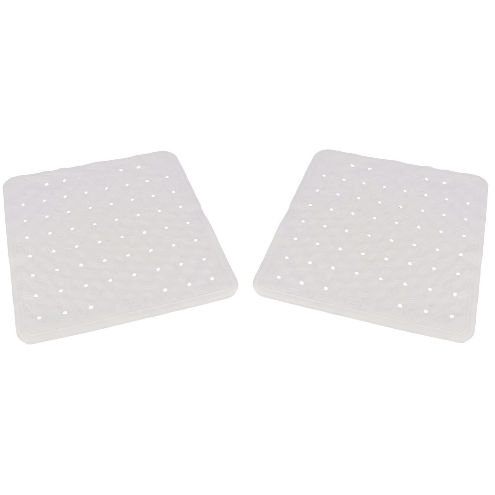 Set van 2x stuks witte anti-slip badmat-douchemat 54 x 54 cm vierkant