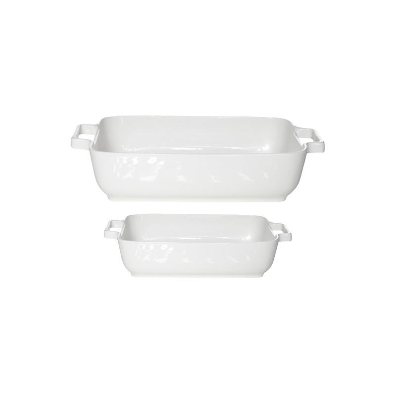 Set van 2x stuks witte ovenschalen/serveerschalen 17 x 17 cm en 24 x 19 cm