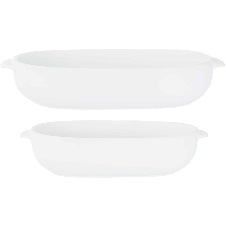 Set van 2x stuks witte ovenschalen/serveerschalen ovaal 18 x 11 cm en 24 x 15 cm