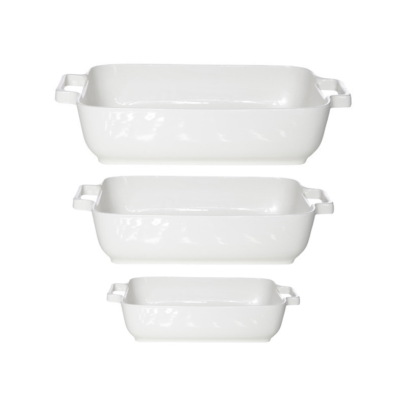 Set van 3x stuks witte ovenschalen/serveerschalen 17 x 17 cm/24 x 19 cm/29 x 23 cm