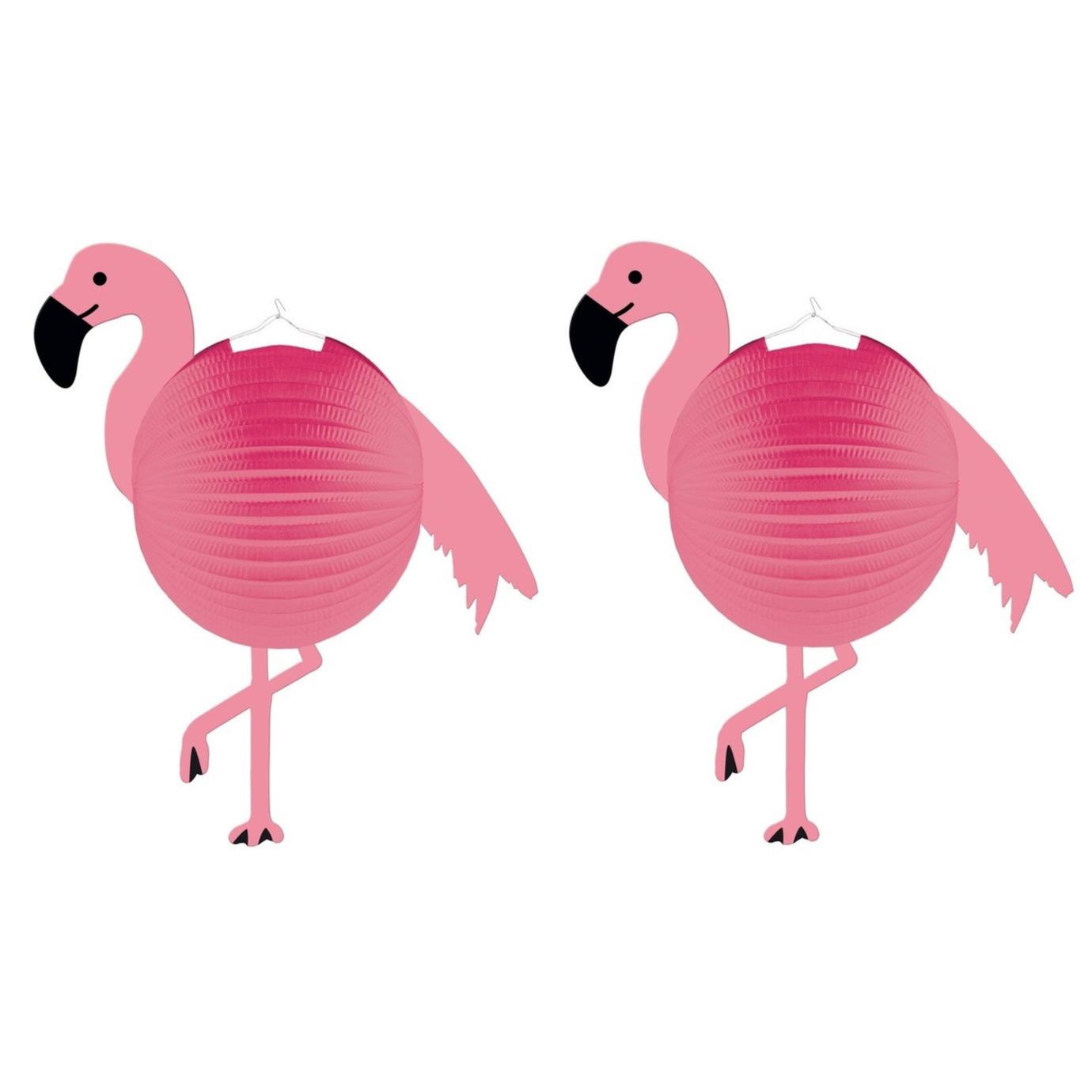 Set van 4x stuks flamingo thema roze bol lampionnen 25 cm