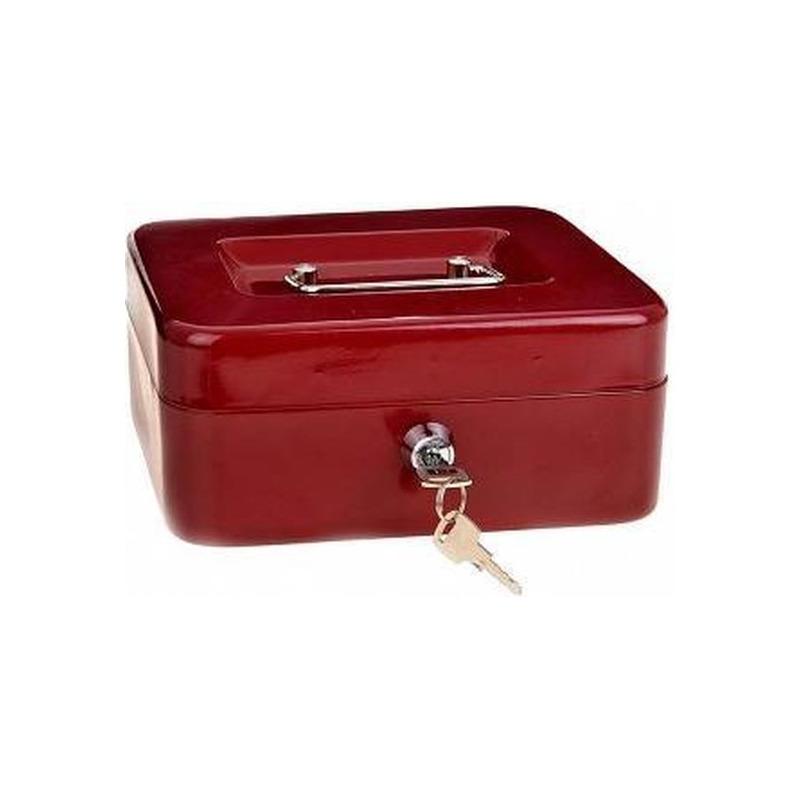 Set van 4x stuks geldkistjes-kluisjes rood met inleglade 20 cm