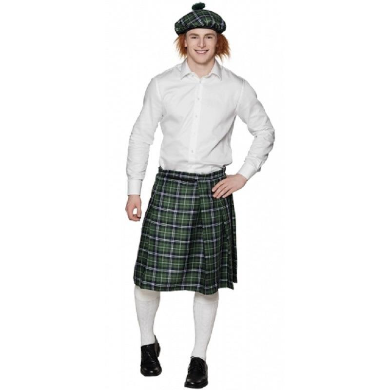 Set van 4x stuks groene Schotse verkleed kilts voor heren