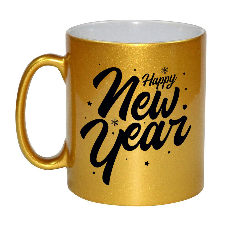 Set van 4x stuks happy new year cadeau gouden mokken/bekers van 330 ml