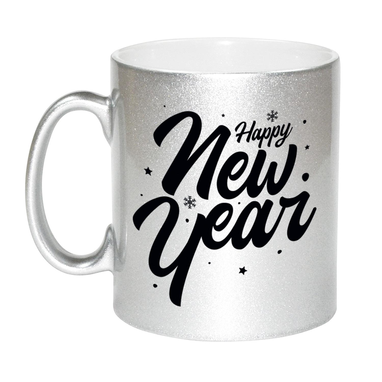 Set van 4x stuks happy new year cadeau zilveren mokken 330 ml