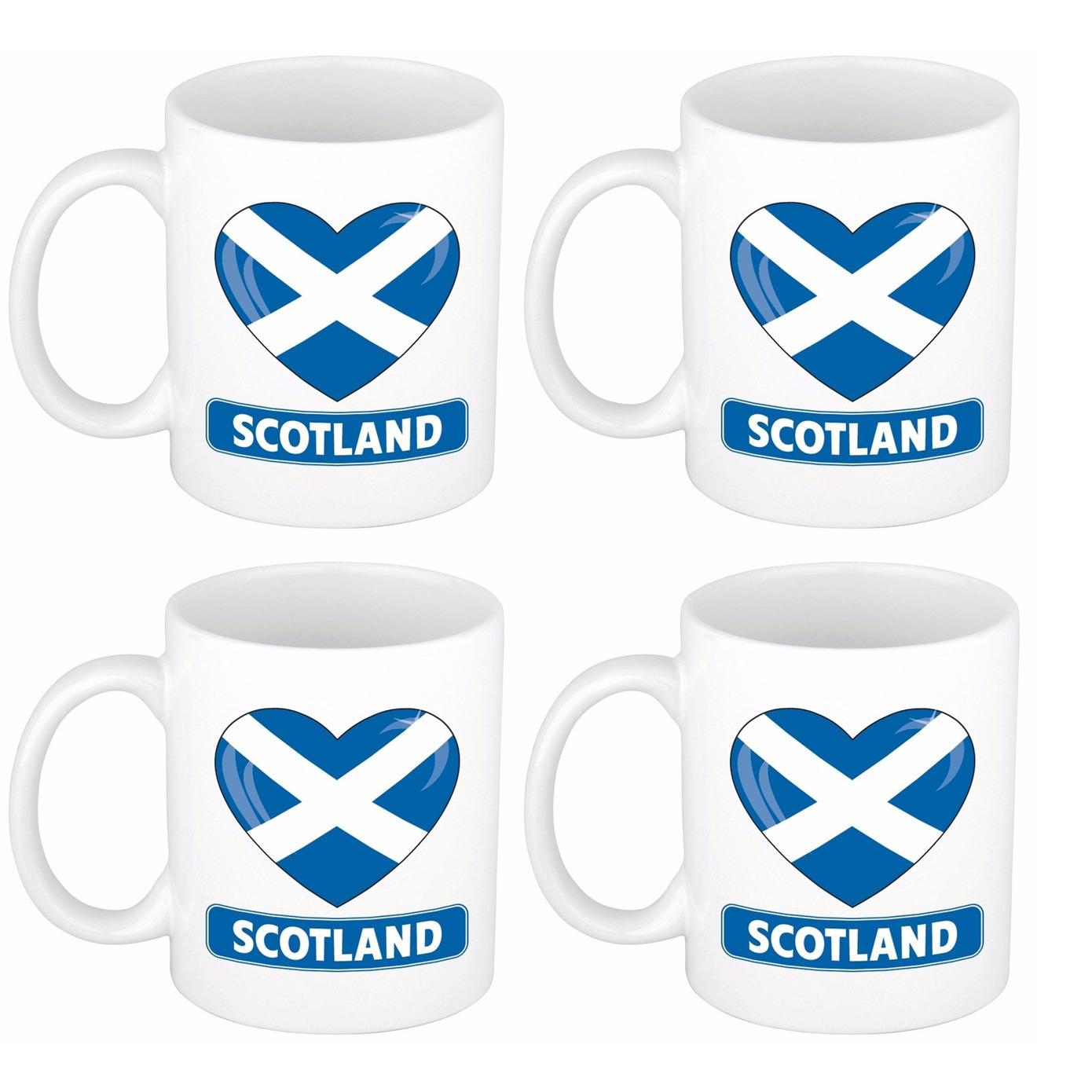 Set van 4x stuks hartje Schotland vlag mokken - bekers 300 ml