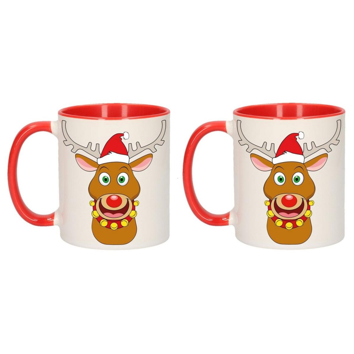 Set van 4x stuks kerstmokken rendier Rudolph 300 ml