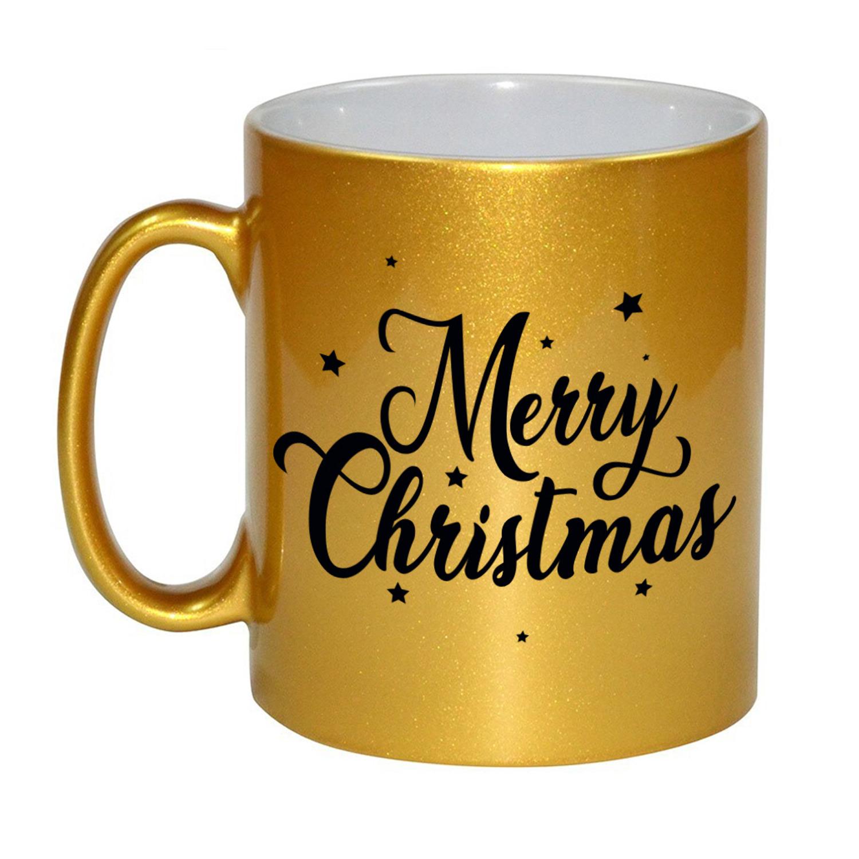 Set van 4x stuks merry Christmas met sterren cadeau kerstmokken goud 330 ml