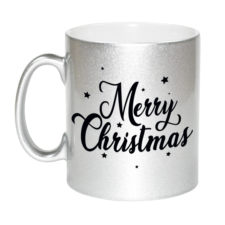 Set van 4x stuks merry Christmas met sterren cadeau kerstmokken zilver 330 ml