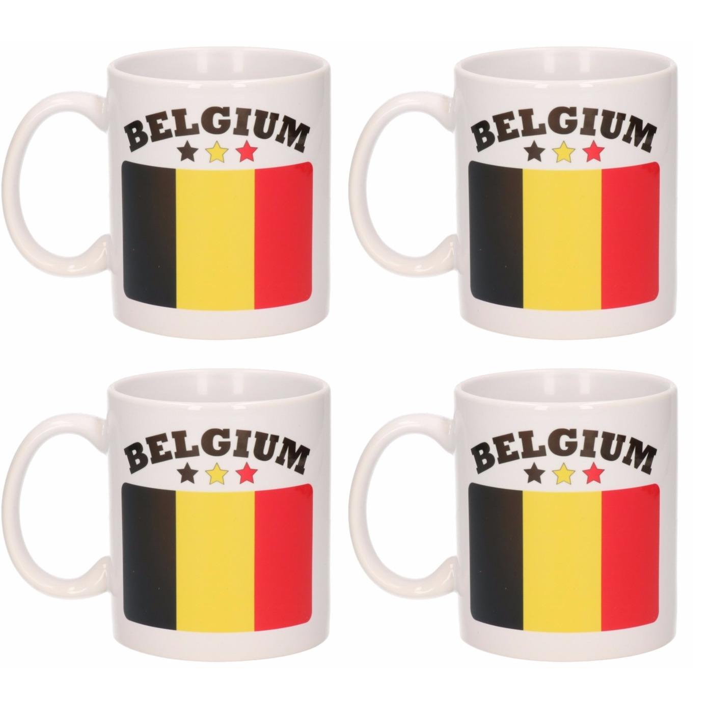 Set van 4x stuks mokken Belgische vlag 300 Ml