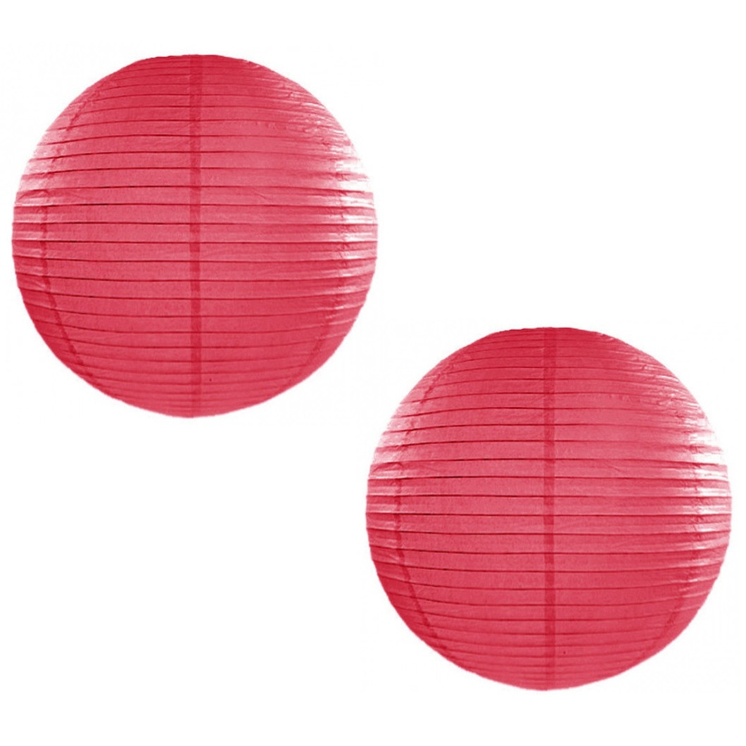 Set van 5x stuks luxe ronde party lampionnen fuchsia roze 50 cm