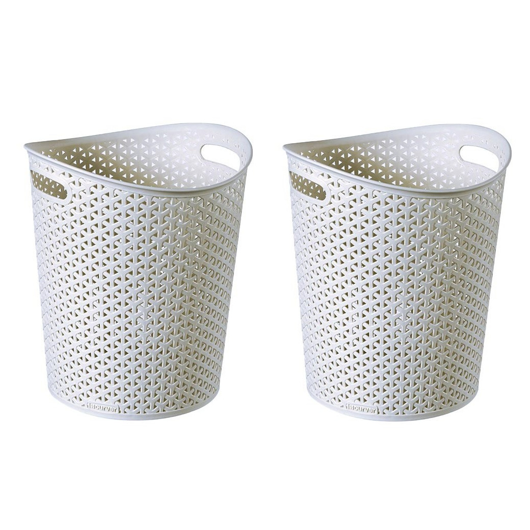 Set van 5x stuks opbergboxen/opbergmanden geweven wit 12 liter kunststof