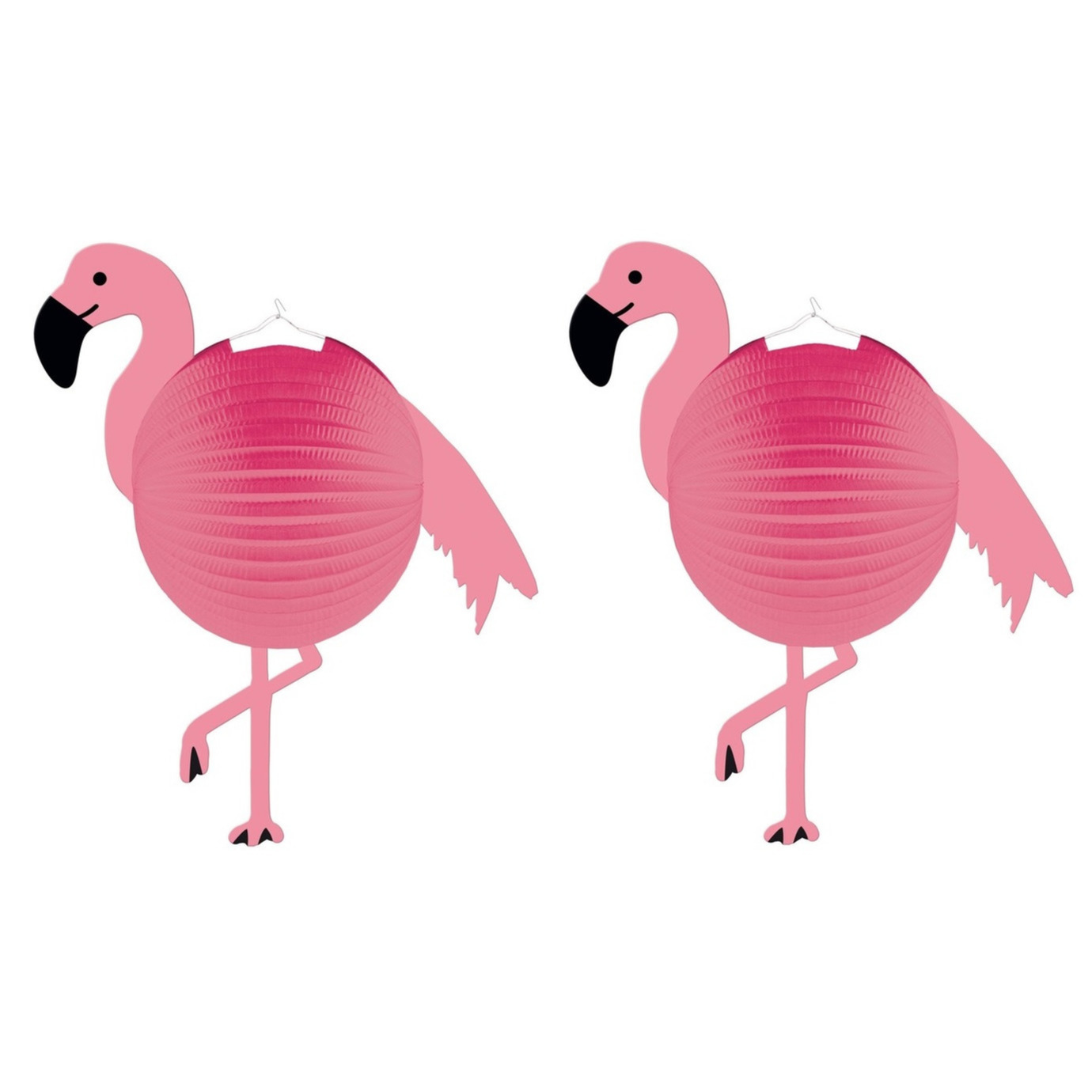 Set van 6x stuks flamingo thema roze bol lampionnen 25 cm