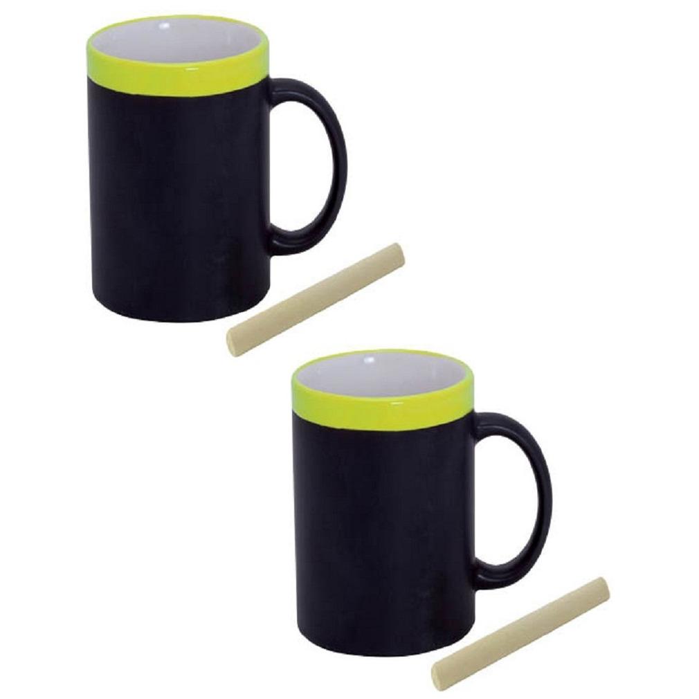 Set van 6x stuks krijt mokken in het geel beschrijfbare koffie-thee mokken-bekers
