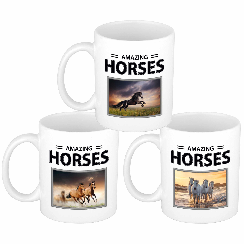 Set van 6x stuks paarden thema drink mokken met dieren foto print van amazing horses