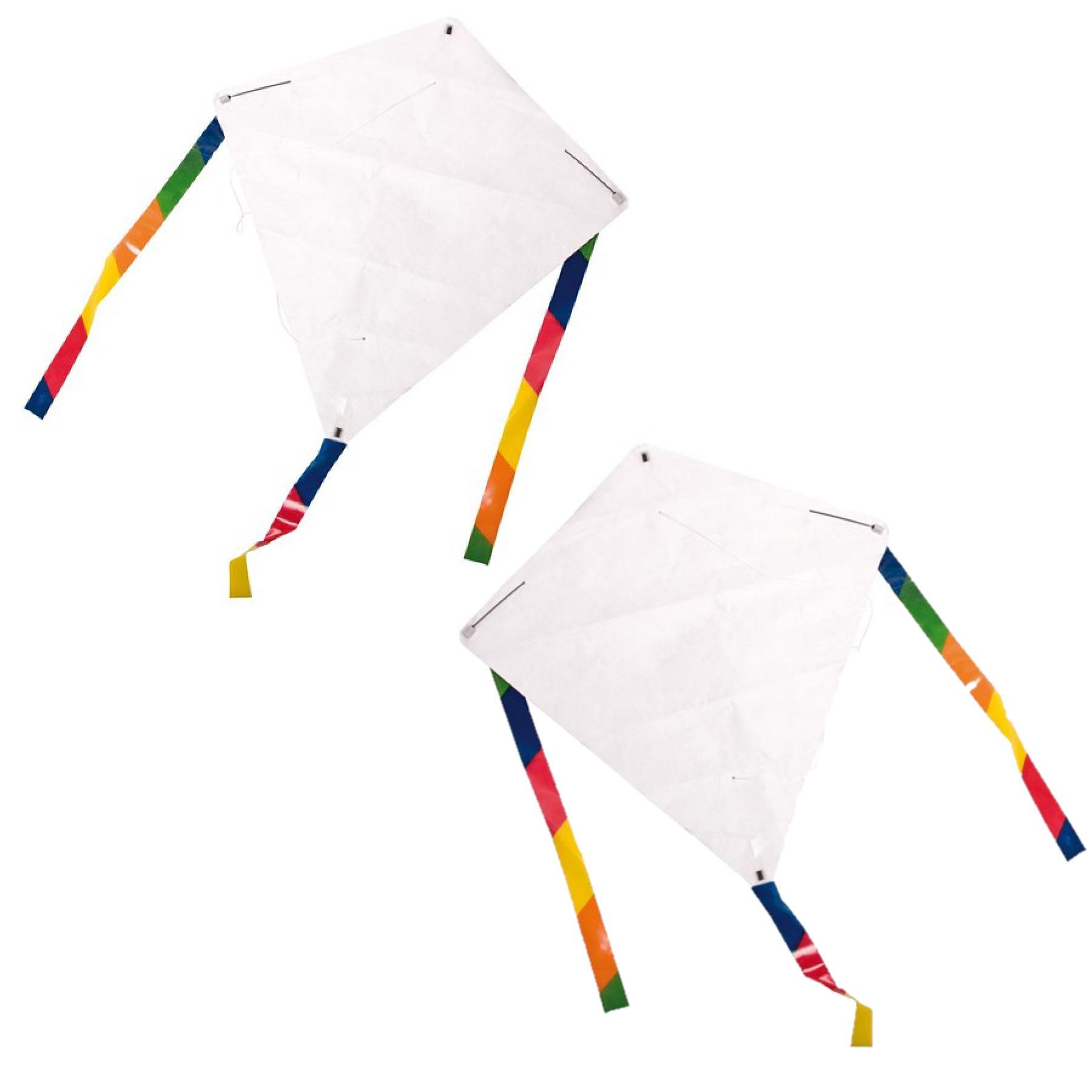 Set van 8x stuks blanco vliegers DIY knutselpakket inclusief 6 krijtjes per pakket 49 x 49 cm